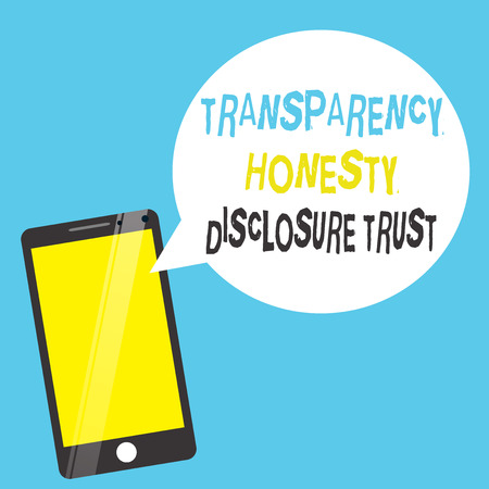 Word writing text Transparency Honesty Disclosure Trust. Business concept for Political Agenda Corporate Will. 免版税图像