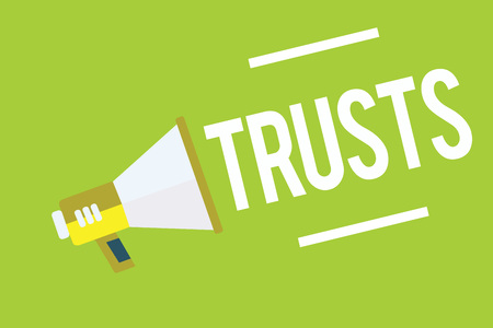 Conceptual hand writing showing Trusts. Business photo showcasing firm belief in reliability truth or ability of someone or something Megaphone green background important message speaking loud