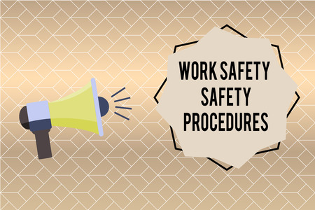 Handwriting text writing Work Safety Safety Procedures. Concept meaning methods to minimize Risk and Accidents.