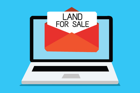 Text sign showing Land For Sale. Conceptual photo Real Estate Lot Selling Developers Realtors Investment Computer receiving email important message envelope with paper virtual