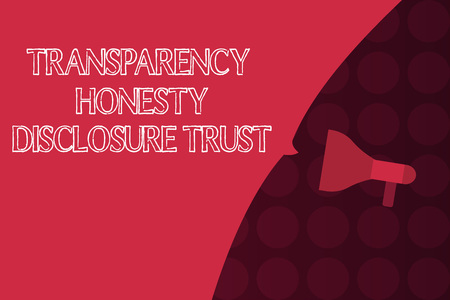 Word writing text Transparency Honesty Disclosure Trust. Business concept for Political Agenda Corporate Will. Фото со стока