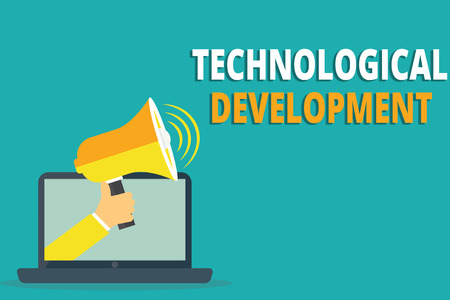 Text sign showing Technological Development. Conceptual photo Invention or Innovation put into usable product.