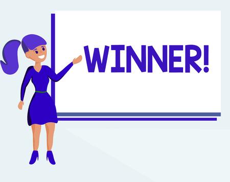 Textzeichen zeigt Gewinner. Konzeptfoto Person oder Sache, die etwas gewinnt Ziel erreicht Leistung. Standard-Bild