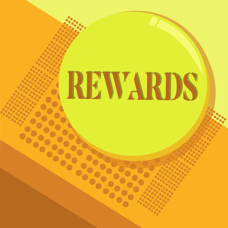 Word writing text Rewards. Business concept for Given in recognition of service effort achievement Prize Gift.