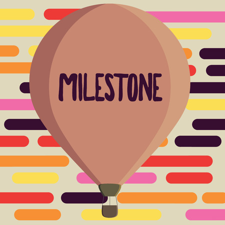Text sign showing Milestone. Conceptual photo Significant stage or event in the development of something.