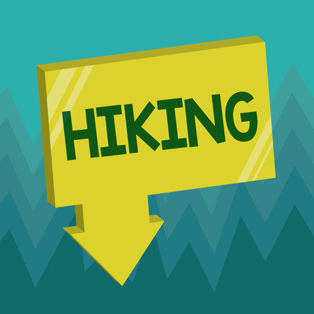 Conceptual hand writing showing Hiking. Business photo showcasing walk for long distance especially across country on foot Kind sport.