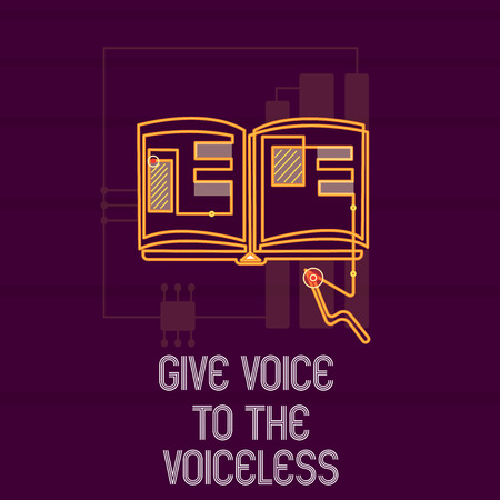 Conceptual hand writing showing Give Voice To The Voiceless. Business photo showcasing Speak out on Behalf Defend the Vulnerable.