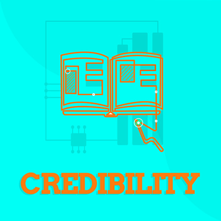 Text sign showing Credibility. Conceptual photo Quality of being convincing trusted credible and believed in. Фото со стока