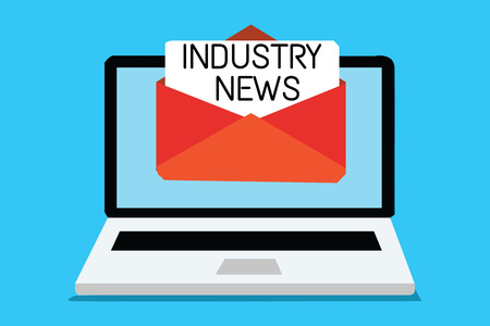 Text sign showing Industry News. Conceptual photo Technical Market Report Manufacturing Trade Builder Computer receiving email important message envelope with paper virtual Reklamní fotografie