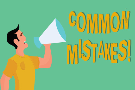 Conceptual hand writing showing COMMON MISTAKES. Business photo showcasing Prevalent error and issues that occur repetitively.