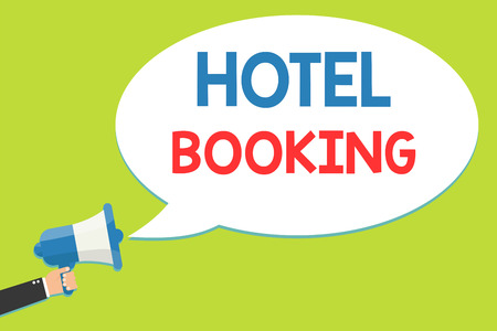 Word writing text Hotel Booking. Business concept for Online Reservations Presidential Suite De Luxe Hospitality Man holding megaphone loudspeaker speech bubble message speaking loud