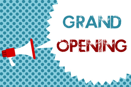 Text sign showing Grand Opening. Conceptual photo Ribbon Cutting New Business First Official Day Launching Megaphone loudspeaker speech bubble message blue background halftone Imagens