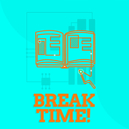 Text sign showing Break Time. Conceptual photo Vacation period resting Relaxation Holidays out of work. Stock Photo