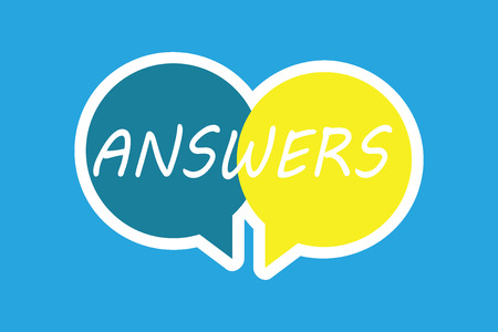 Word writing text Answers. Business concept for Reactions responses to questions statements or situations Choices. Banco de Imagens