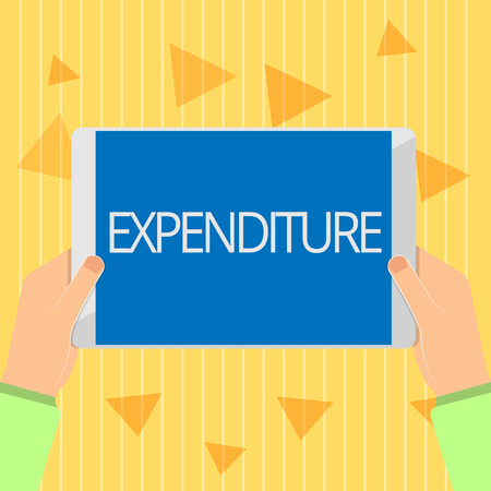 Handwriting text Expenditure. Concept meaning Action of spending funds amount of money spent Investment. Stock fotó