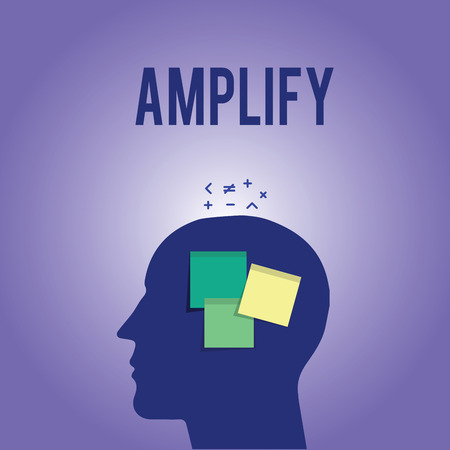 Word writing text Amplify. Business concept for Make something bigger louder increase the volume using amplifier.