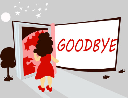 Handwriting text writing Goodbye. Concept meaning Greeting for leaving Farewell See you soon Separation salute.