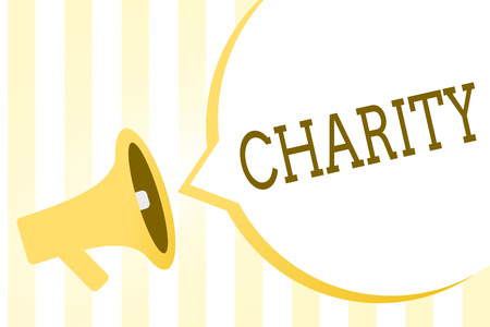Writing note showing Charity. Business photo showcasing Organization provide help Raise money for support showing in need Megaphone loudspeaker yellow stripes important message speech bubble