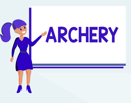 Text sign showing Archery. Conceptual photo Sport shooting with bow and arrows to a target Competition. Banque d'images