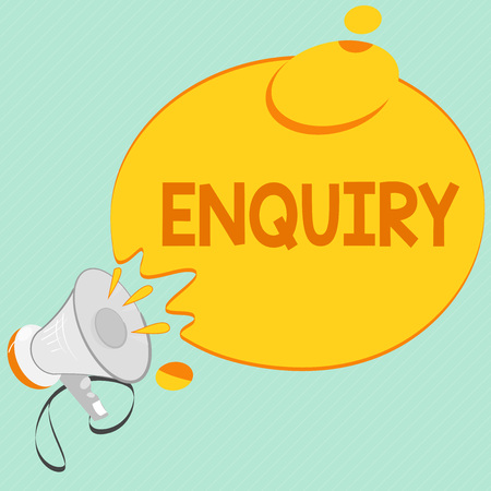 Writing note showing Enquiry. Business photo showcasing Asking for information Official investigation discover facts Inquiry. Stock Photo