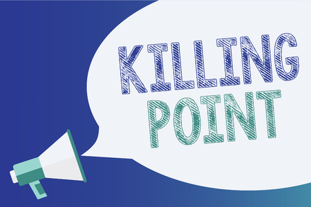 Text sign showing Killing Point. Conceptual photo Phase End Review Stage Gate Project Evaluation No Go Megaphone loudspeaker speech bubble important message speaking out loud