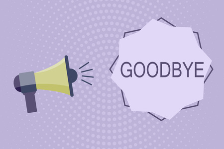 Writing note showing Goodbye. Business photo showcasing Greeting for leaving Farewell See you soon Separation salute.