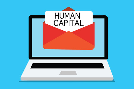 Text sign showing Human Capital. Conceptual photo Intangible Collective Resources Competence Capital Education Computer receiving email important message envelope with paper virtual