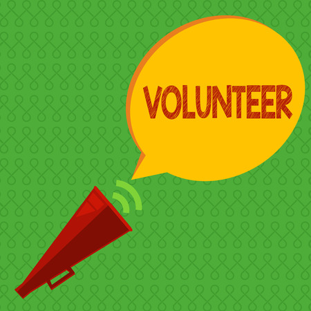 Writing note showing Volunteer. Business photo showcasing Person who freely offers to take part in something Charity. Stock Photo