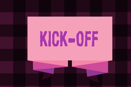 Writing note showing Kick Off. Business photo showcasing start or resumption of football match in which player kicks ball.