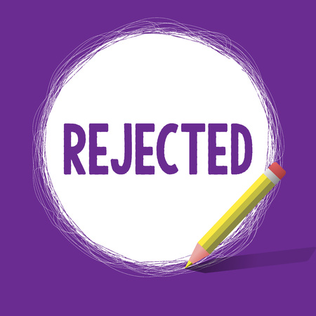 Word writing text Rejected. Business concept for dismiss as inadequate unacceptable or faulty refuse to agree.