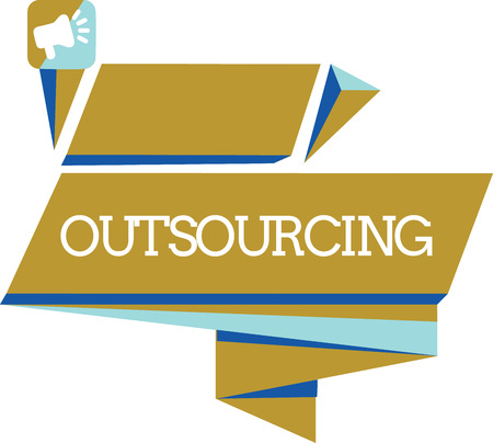 Word writing text Outsourcing. Business concept for Obtain goods or service by contract from an outside supplier. Standard-Bild