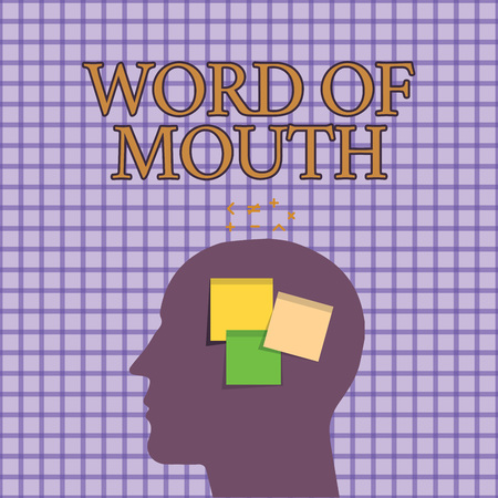 Conceptual hand writing showing Word Of Mouth. Business photo showcasing Oral spreading of information Storytelling Viva Voice.