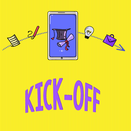 Word writing text Kick Off. Business concept for start or resumption of football match in which player kicks ball.