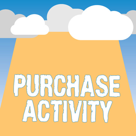Word writing text Purchase Activity. Business concept for Acquiring goods to achieve the goals of an organization. Banco de Imagens