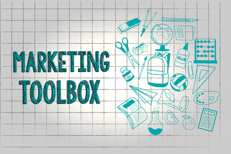 Text sign showing Marketing Toolbox. Conceptual photo Means in promoting a product or services Automation. Reklamní fotografie