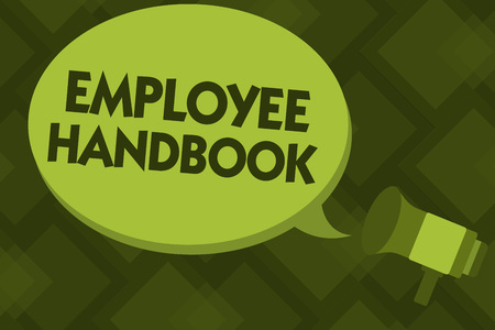 Writing note showing Employee Handbook. Business photo showcasing Document that contains an operating procedures of company.