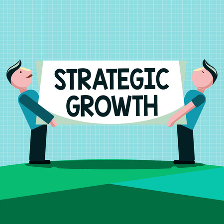 Writing note showing Strategic Growth. Business photo showcasing create plan or schedule to increase stocks or improvement. Reklamní fotografie