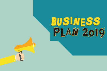 Text sign showing Business Plan 2019. Conceptual photo Challenging Business Ideas and Goals for New Year.