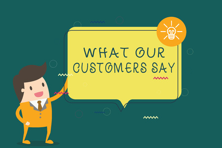 Writing note showing What Our Customers Say. Business photo showcasing to know Users Feedback the Consumers Reactions. 写真素材