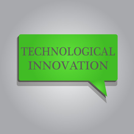 Writing note showing Technological Innovation. Business photo showcasing New Invention from technical Knowledge of Product.