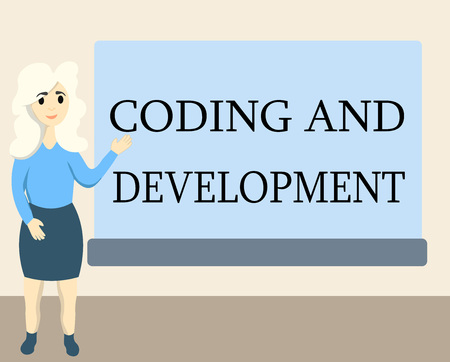 Writing note showing Coding And Development. Business photo showcasing Programming Building simple assembly Programs.