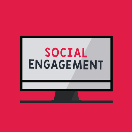 Handwriting text writing Social Engagement. Concept meaning Degree of engagement in an online community or society. Stock Photo