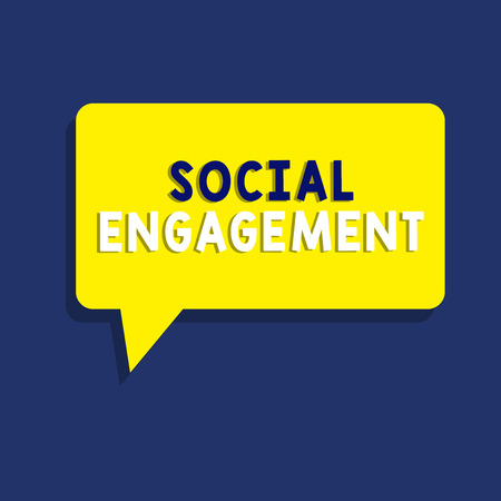 Text sign showing Social Engagement. Conceptual photo Degree of engagement in an online community or society. Stock Photo
