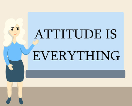 Writing note showing Attitude Is Everything. Business photo showcasing Positive Outlook is the Guide to a Good Life.