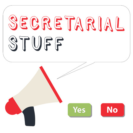 Word writing text Secretarial Stuff. Business concept for Secretary belongings Things owned by personal assistant. 免版税图像
