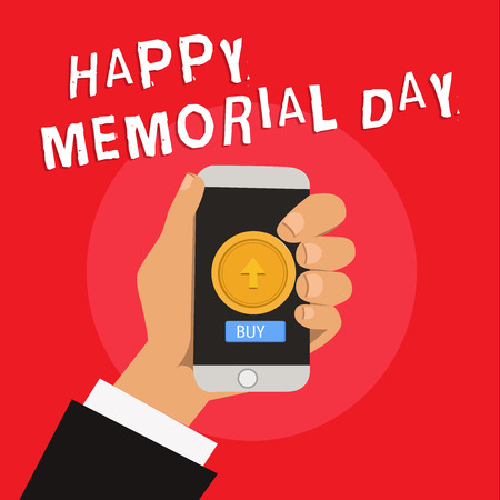 Writing note showing Happy Memorial Day. Business photo showcasing Honoring Remembering those who died in military service. Stock Photo