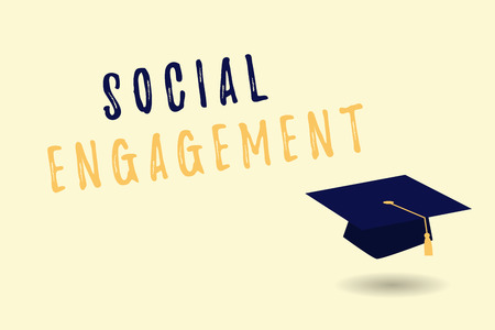 Text sign showing Social Engagement. Conceptual photo Degree of engagement in an online community or society. Stockfoto