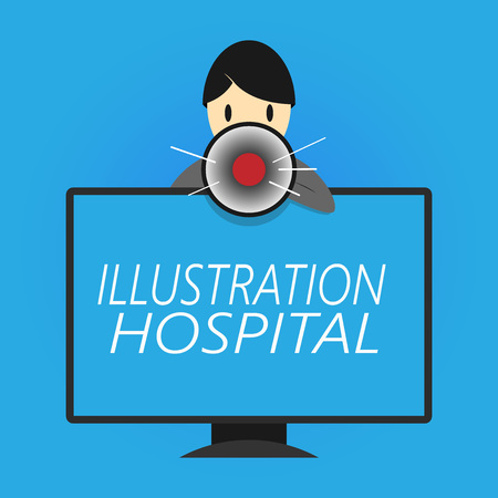 Writing note showing Illustration Hospital. Business photo showcasing unique Applied Art of Medical Institution and Practice. Imagens
