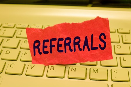 Writing note showing Referrals. Business photo showcasing Act of referring someone or something for consultation review.