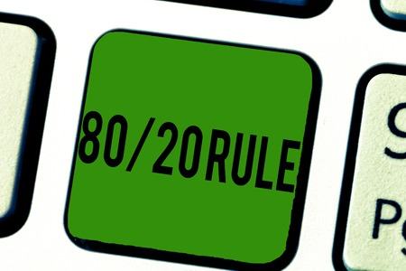 Handwriting text 80 20 Rule. Concept meaning Pareto principle 80 percent effects come from 20 causes.